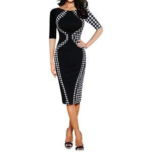 Houndstooth & Black Bodycon Pencil Dress Plus Size